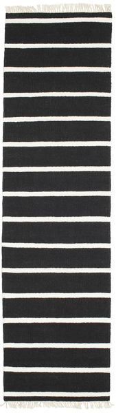 Dhurrie Stripe - Black/White Rug 80X300 Authentic  Modern Handwoven Hallway Runner  Black/White/Creme (Wool, India)
