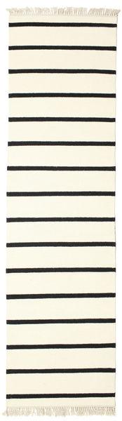 Dhurrie Stripe - White/Black Rug 80X300 Authentic  Modern Handwoven Hallway Runner  Beige/White/Creme (Wool, India)