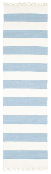 Cotton Stripe - Light Blue Rug 80X300 Authentic  Modern Handwoven Hallway Runner  Beige/Light Blue (Cotton, India)