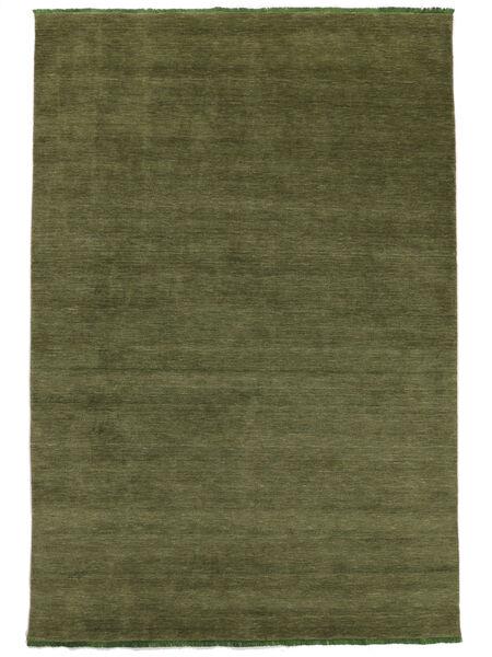 Handloom Fringes - Green Rug 160X230 Modern Olive Green (Wool, India)