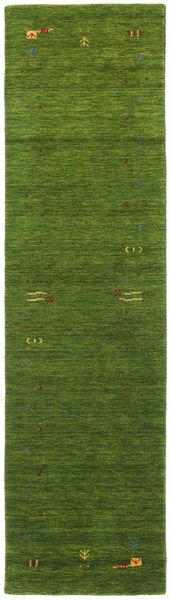 Gabbeh Loom Frame - Green Rug 80X300 Modern Hallway Runner  Dark Green/Olive Green (Wool, India)