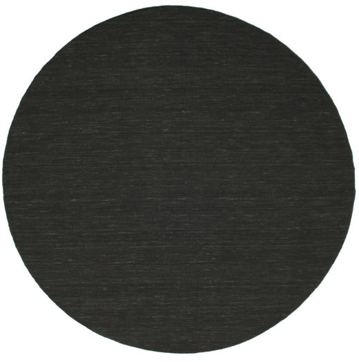 Kilim Loom - Black Rug Ø 250 Authentic  Modern Handwoven Round Dark Grey Large (Wool, India)