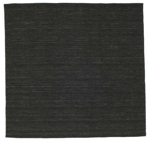 Kilim Loom - Black Rug 200X200 Authentic  Modern Handwoven Square Black (Wool, India)