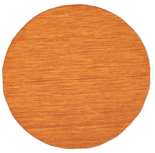 Kilim Loom - Orange Rug Ø 150 Authentic  Modern Handwoven Round Orange (Wool, India)