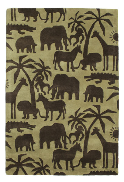 Africa Handtufted Rug 120X180 Modern Dark Brown/Olive Green/Light Green (Wool, India)