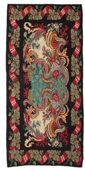 Rose Kelim Moldavia Rug 180X378 Authentic  Oriental Handwoven Black/Dark Red (Wool, Moldova)