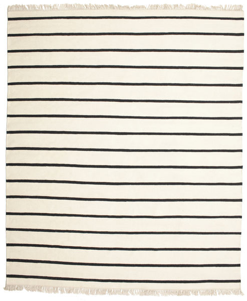 Dhurrie Stripe - White/Black Rug 250X300 Authentic  Modern Handwoven Beige/White/Creme Large (Wool, India)