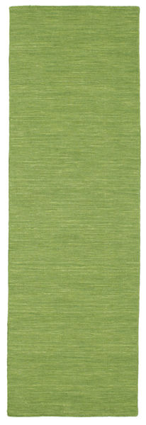 Kilim Loom - Green Rug 80X400 Authentic  Modern Handwoven Hallway Runner  Olive Green (Wool, India)