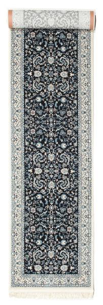 Nain Florentine - Dark Blue Rug 80X500 Oriental Hallway Runner  Light Grey/Dark Grey ( Turkey)