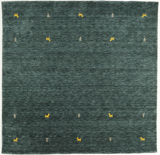 Gabbeh Loom Two Lines - Dark Grey/Green Rug 200X200 Modern Square Dark Green/Dark Turquoise   (Wool, India)
