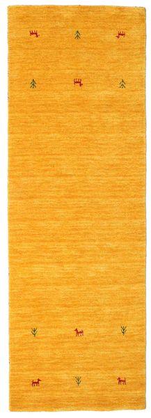 Gabbeh Loom Two Lines - Yellow Rug 80X250 Modern Hallway Runner  Yellow/Orange (Wool, India)