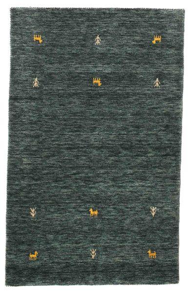 Gabbeh Loom Two Lines - Dark Grey/Green Rug 100X160 Modern Black/Dark Grey (Wool, India)