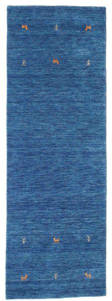 Gabbeh Loom Two Lines - Blue Rug 80X250 Modern Hallway Runner  Dark Blue/Blue (Wool, India)
