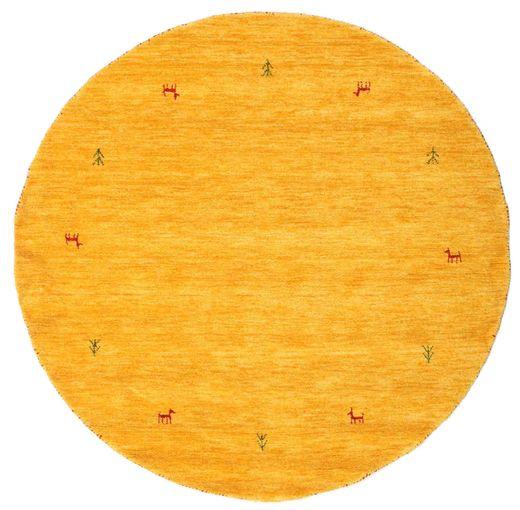 Gabbeh Loom Two Lines - Yellow Rug Ø 150 Modern Round Yellow/Orange (Wool, India)