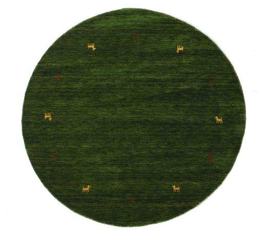 Gabbeh Loom Two Lines - Green Rug Ø 150 Modern Round Dark Green (Wool, India)