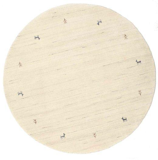 Gabbeh Loom Two Lines - Off White Rug Ø 150 Modern Round Yellow/Beige (Wool, India)