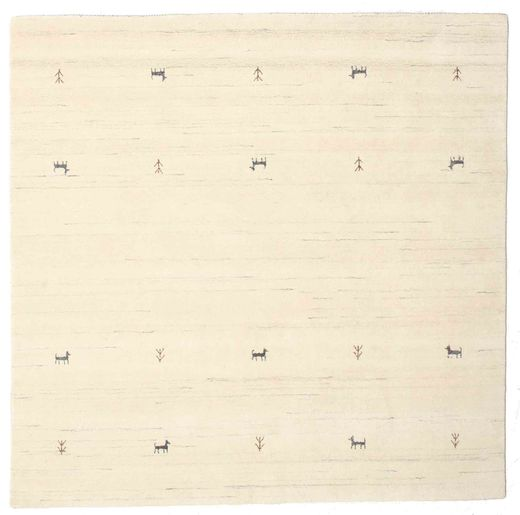 Gabbeh Loom Two Lines - Off White Rug 200X200 Modern Square Beige/White/Creme/Yellow (Wool, India)