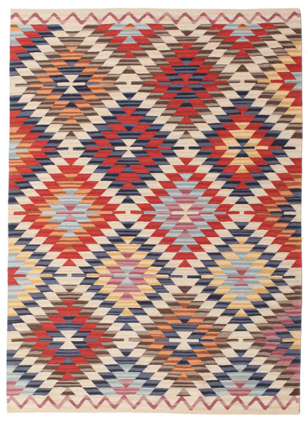 Kilim Oushak Rug 140X200 Authentic  Modern Handwoven Beige/Rust Red (Wool, India)