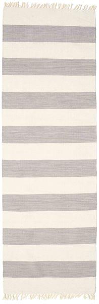 Cotton Stripe - Steel Grey Rug 80X250 Authentic  Modern Handwoven Hallway Runner  Light Grey (Cotton, India)