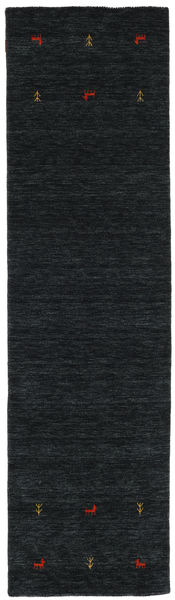 Gabbeh Loom Two Lines - Black/Grey Rug 80X250 Modern Hallway Runner  Black (Wool, India)