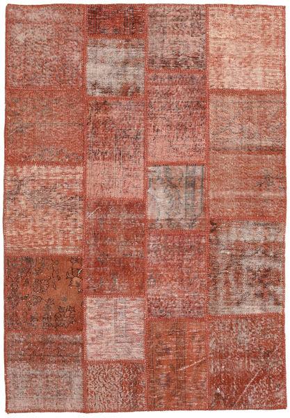 Patchwork Rug 138X200 Authentic  Modern Handknotted Dark Red/Crimson Red (Wool, Turkey)