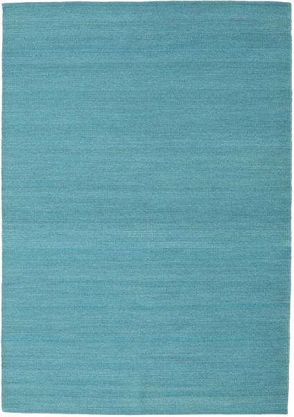 Kilim Loom - Petrol Blue Rug 140X200 Authentic  Modern Handwoven Turquoise Blue (Wool, India)