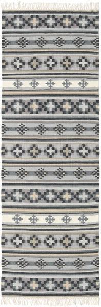 Kilim Cizre Rug 80X350 Authentic  Modern Handwoven Hallway Runner  Light Grey/Dark Grey (Wool, India)