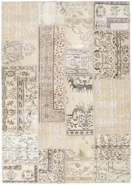 Patchwork Rug 142X201 Authentic  Modern Handknotted Light Grey/Beige (Wool, Turkey)