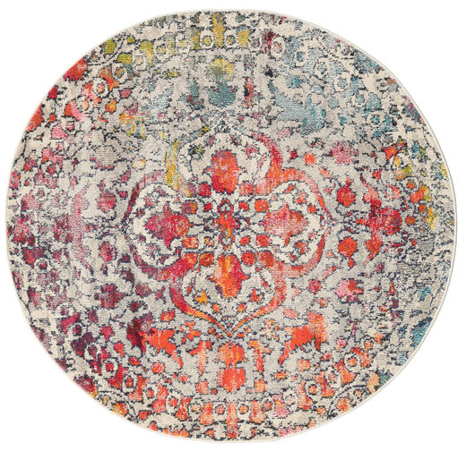 Kaleidoscope - Multi Rug Ø 150 Modern Round Light Grey/Dark Brown ( Turkey)