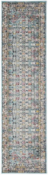 Chillon - Light Blue/Multi Rug 80X300 Modern Hallway Runner  Dark Grey/Light Grey ( Turkey)