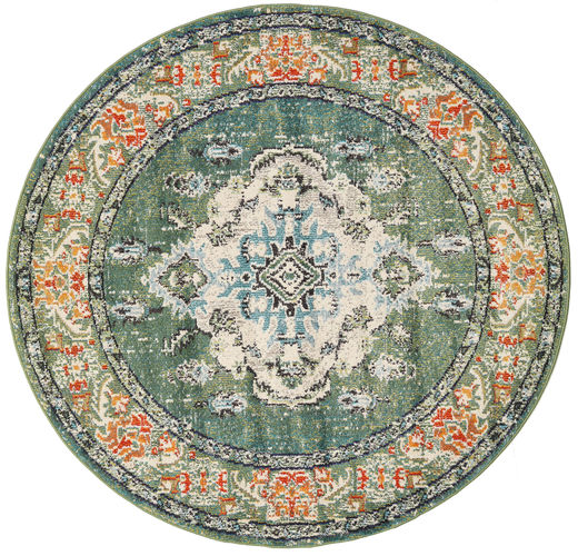 Leia - Green Rug Ø 150 Modern Round Dark Green/Light Green ( Turkey)