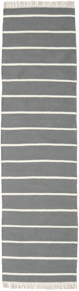 Dhurrie Stripe - Grey Rug 80X300 Authentic  Modern Handwoven Hallway Runner  Light Grey/Dark Grey (Wool, India)
