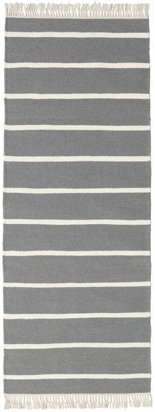 Dhurrie Stripe - Grey Rug 80X200 Authentic  Modern Handwoven Hallway Runner  Light Grey/Dark Grey (Wool, India)