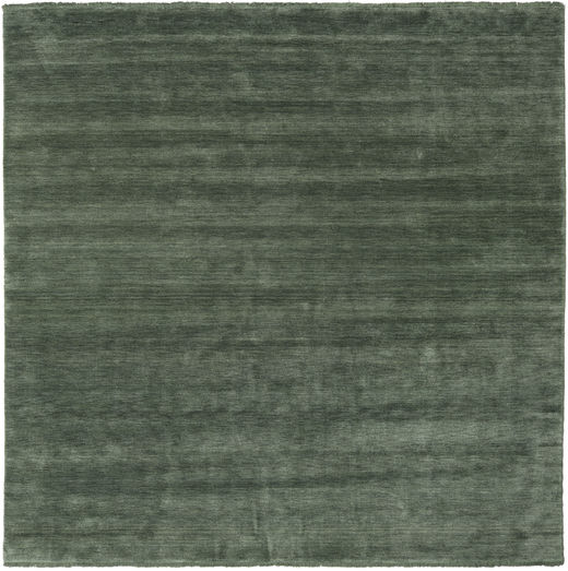 Handloom Fringes - Forest Green Rug 250X250 Modern Square Dark Green/Olive Green Large (Wool, India)