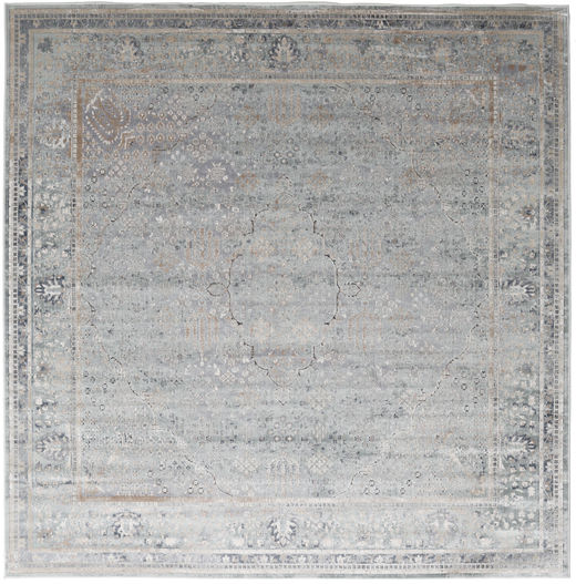 Monza - Greige Rug 250X250 Modern Square Light Grey Large ( Turkey)