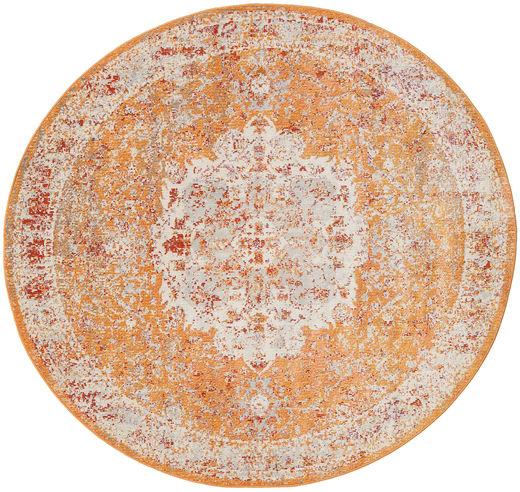 Nadia - Orange Rug Ø 200 Modern Round Light Brown/Dark Brown ( Turkey)