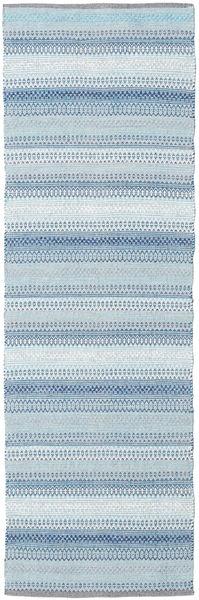 Wilma - Blue Rug 80X250 Authentic  Modern Handwoven Hallway Runner  Light Blue/Beige (Cotton, India)