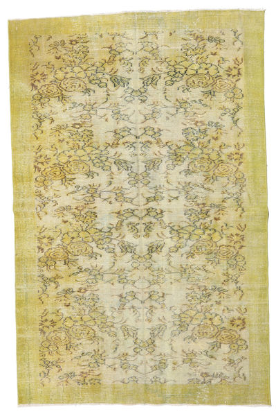 Colored Vintage Rug 160X241 Authentic  Modern Handknotted Light Green/Olive Green/Yellow (Wool, Turkey)