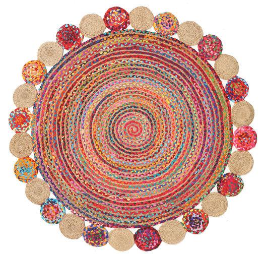 Outdoor Rug Solana Dot Jute - Natural/Multi Rug Ø 150 Authentic  Modern Handwoven Round Rust Red/Light Pink (Jute Rug India)