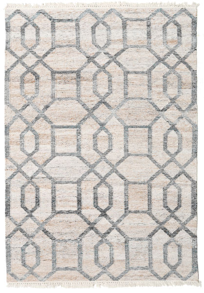 Tracy Rug 140X200 Authentic  Modern Handwoven Light Grey/White/Creme ( India)