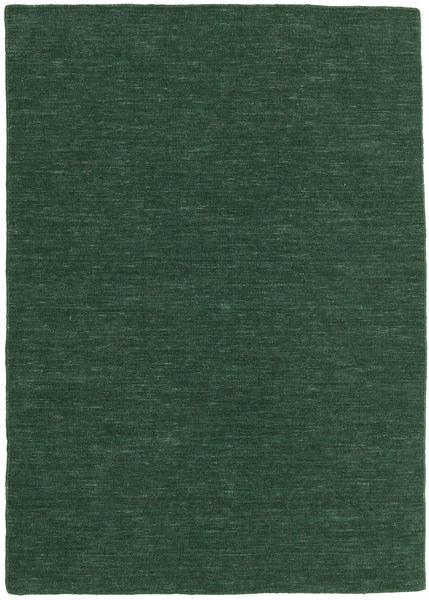 Kilim Loom - Forest Green Rug 140X200 Authentic  Modern Handwoven Dark Green (Wool, India)