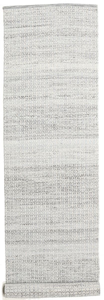 Alva - Grey/White Rug 80X350 Authentic  Modern Handwoven Hallway Runner  Light Grey/White/Creme (Wool, India)