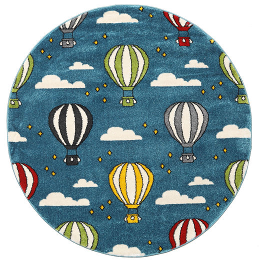 Balloons Rug Ø 150 Modern Round Dark Blue/Blue ( Turkey)