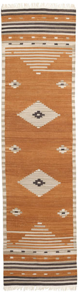 Tribal - Mustard Rug 80X300 Authentic  Modern Handwoven Hallway Runner  Brown/Light Brown/Beige (Wool, India)