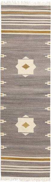 Tribal - Grey Rug 80X300 Authentic  Modern Handwoven Hallway Runner  Light Grey/Beige (Wool, India)