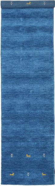 Gabbeh Loom Two Lines - Blue Rug 80X350 Modern Hallway Runner  Blue/Dark Blue (Wool, India)