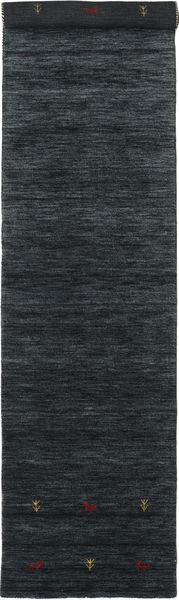 Gabbeh Loom Two Lines - Black/Grey Rug 80X350 Modern Hallway Runner  Black/Dark Blue (Wool, India)