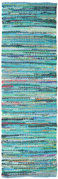 Ronja - Green Mix Rug 80X350 Authentic  Modern Handwoven Hallway Runner  Turquoise Blue/Turquoise Blue (Cotton, India)