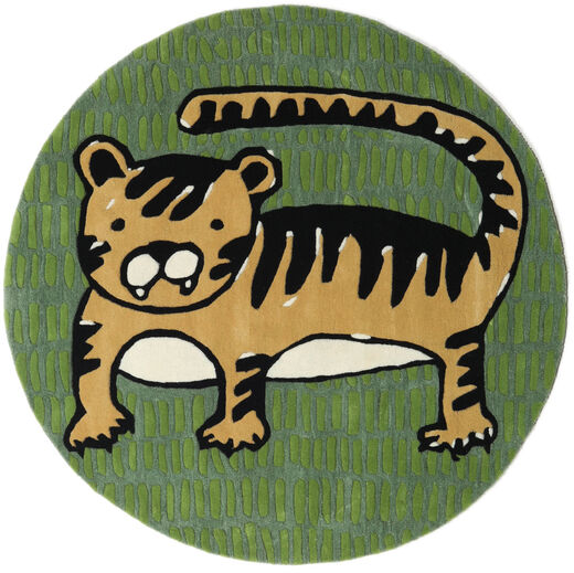 Cool Cat - Yellow Rug Ø 150 Modern Round Dark Green/Olive Green (Wool, India)