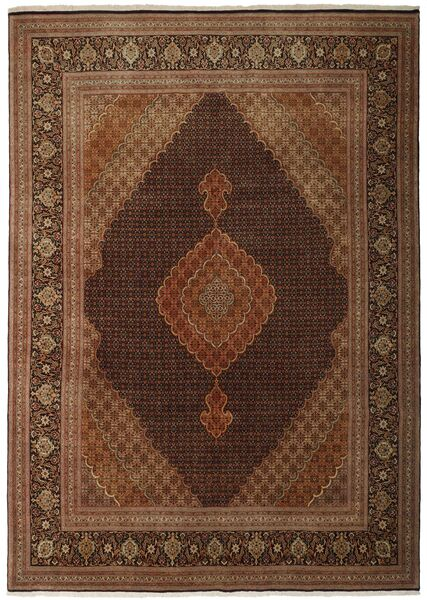 Tabriz 50 Raj Rug 250X348 Authentic  Oriental Handwoven Brown/Dark Brown Large (Wool/Silk, Persia/Iran)